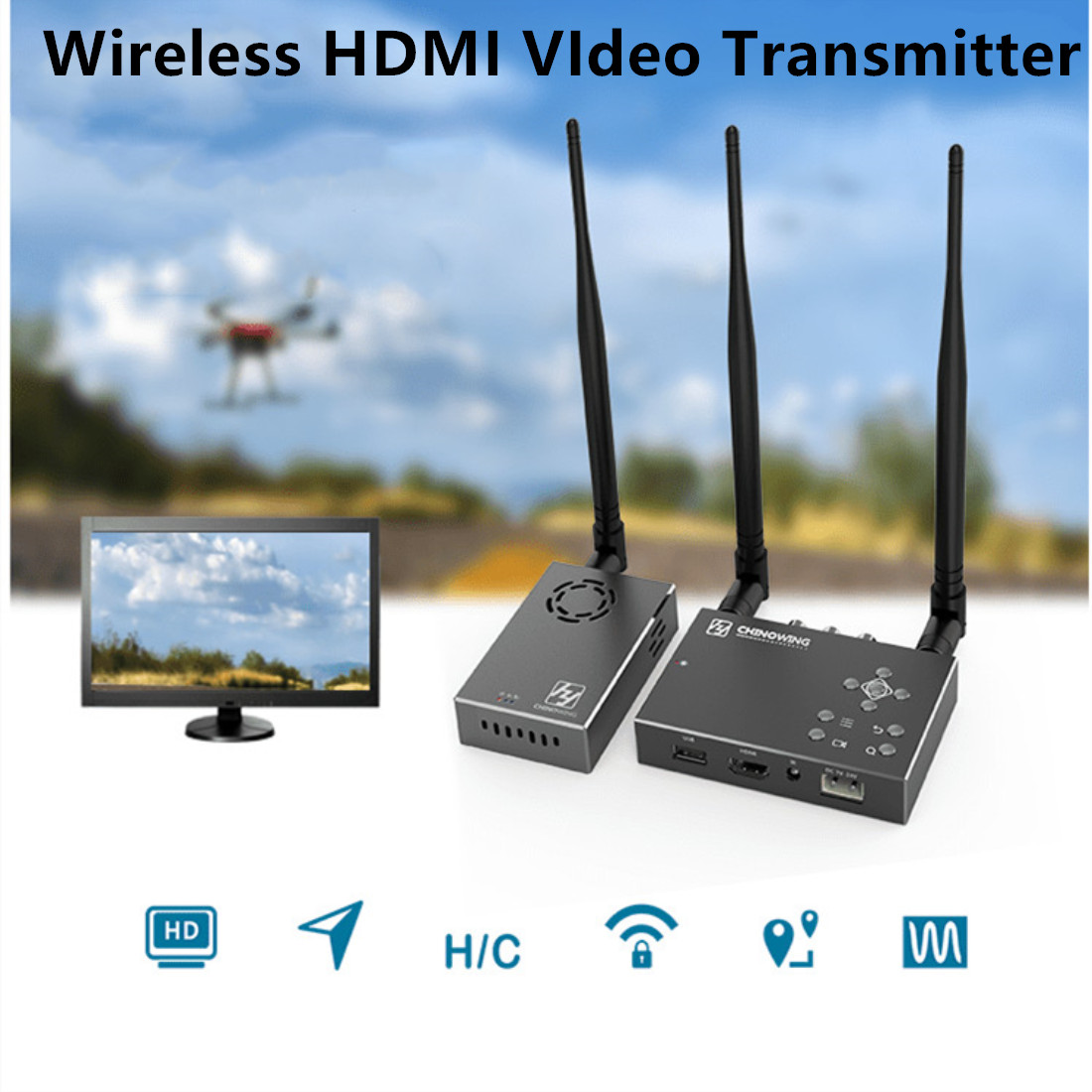 Over 30KM Wireless HDMI image Transmission 100-900Mhz Full HD 1080P COFDM Digital FPV Wireless Video Transmitter 12