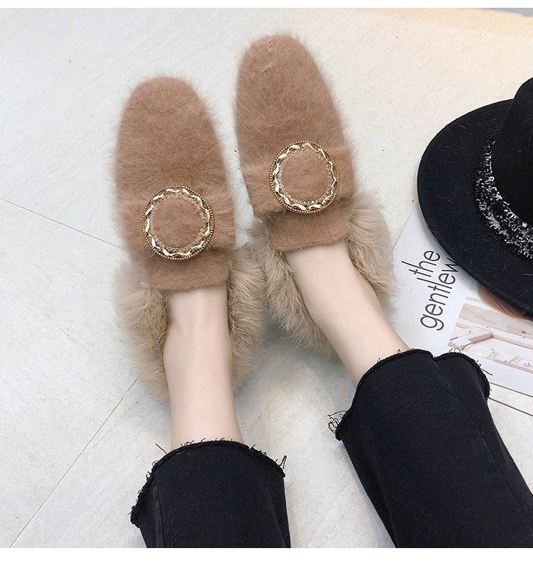 All-Match Shoes Woman 2019 Dress Flats Women Shallow Mouth Loafers Fur Modis Women's Moccasins Round Toe Casual Female Sneakers 43