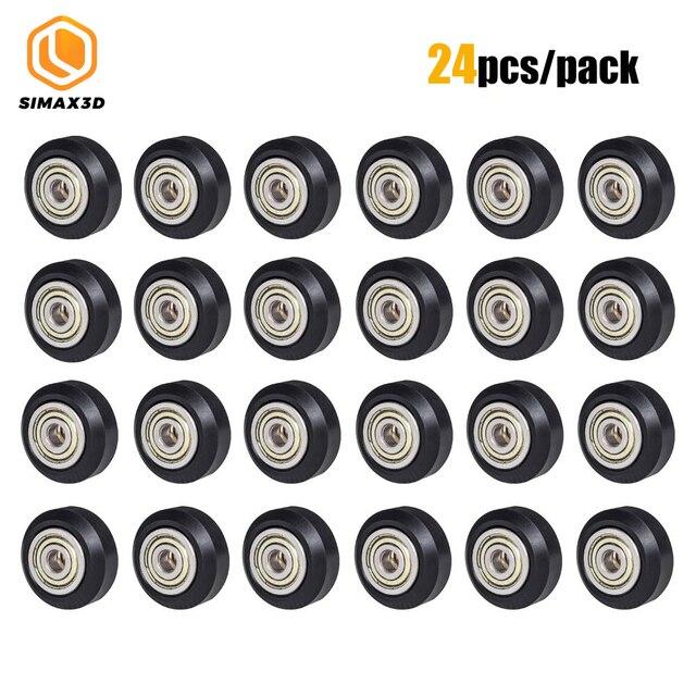 12/24 pièces CNC openbuild roue POM en plastique avec 625zz roue de poulie ronde Passive/v slot Perlin roue de poulie pour CR10 Ender 3