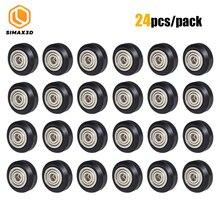 CNC Openbuilds Rueda de polea de plástico con engranaje roldana, rueda de polea de Perlin con ranura en V/redonda pasiva para CR10 Ender 3, 12/24 Uds.