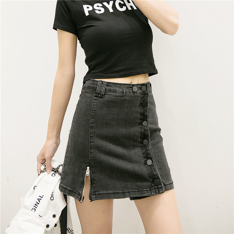 INS Super Fire Slim Fit Denim Skirt Women's Summer New Style Single Breasted Skirt High-waisted Sheath CHIC-Style A- Line Hong K