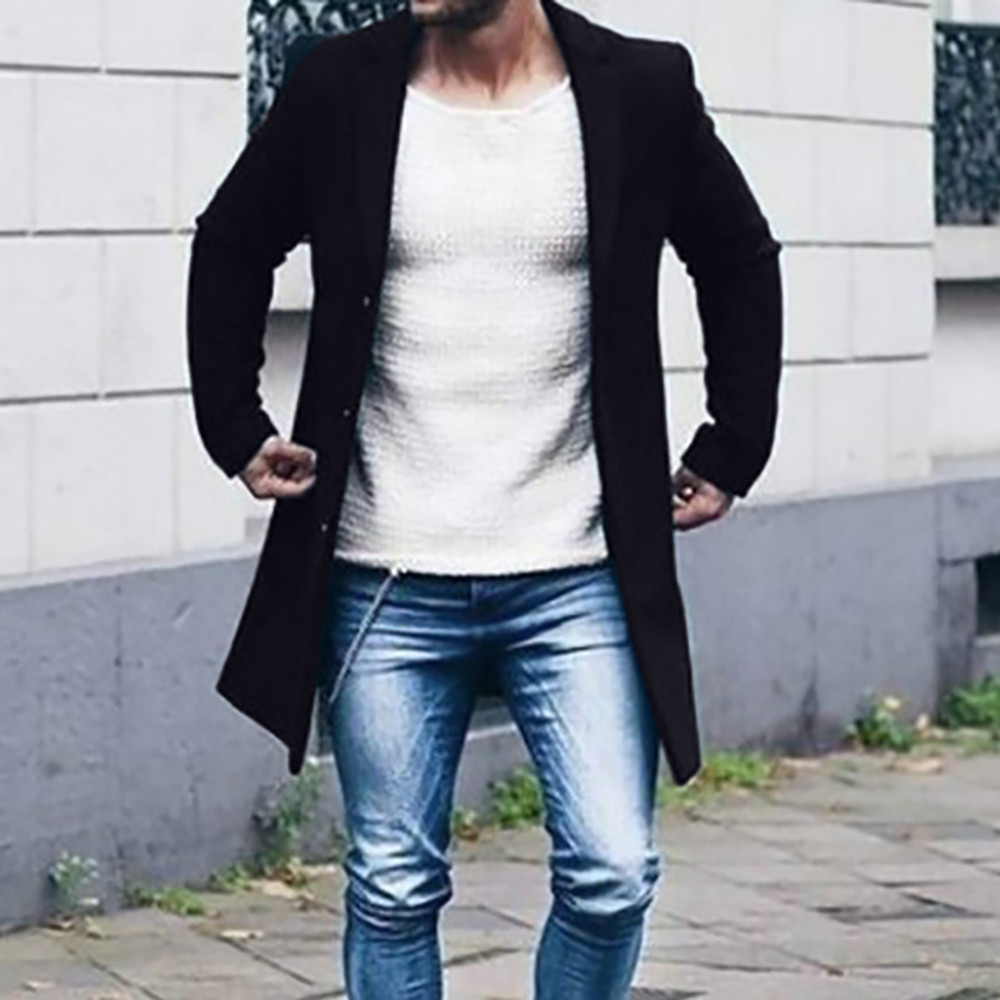 Men's Overcoat Fashion Autumn Winter Button Slim Long Sleeve Suit Jacket Trench Coat Casual high quality Mens Tops Blouse 020New 1