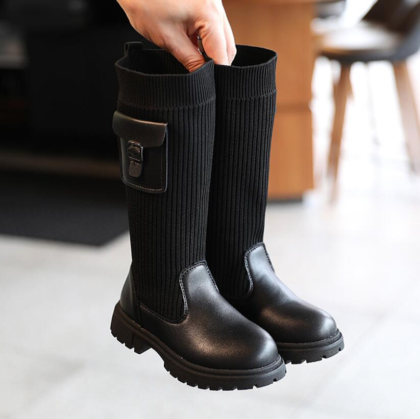 Children Long Boots Girls Knee Fashion Children Socks Snow Boots 2020 Autumn Winter Princess Girls Sport Shoes Child Sneakers