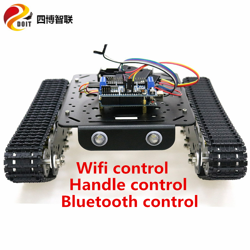 SZDOIT Wifi/Handle/Bluetooth Control <font><b>TS100</b></font> Metal shock absorbing <font><b>Tank</b></font> Chassis Kit 12V Motors DIY for Arduino ESPduino Control image