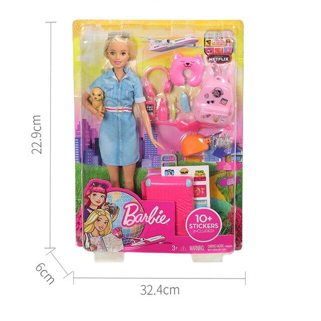 Original Barbie Dolls Brand Travel Girl with Puppy Assortment Fashionista Doll Toys for Children Birthday Gift Reborn Bonecas 5
