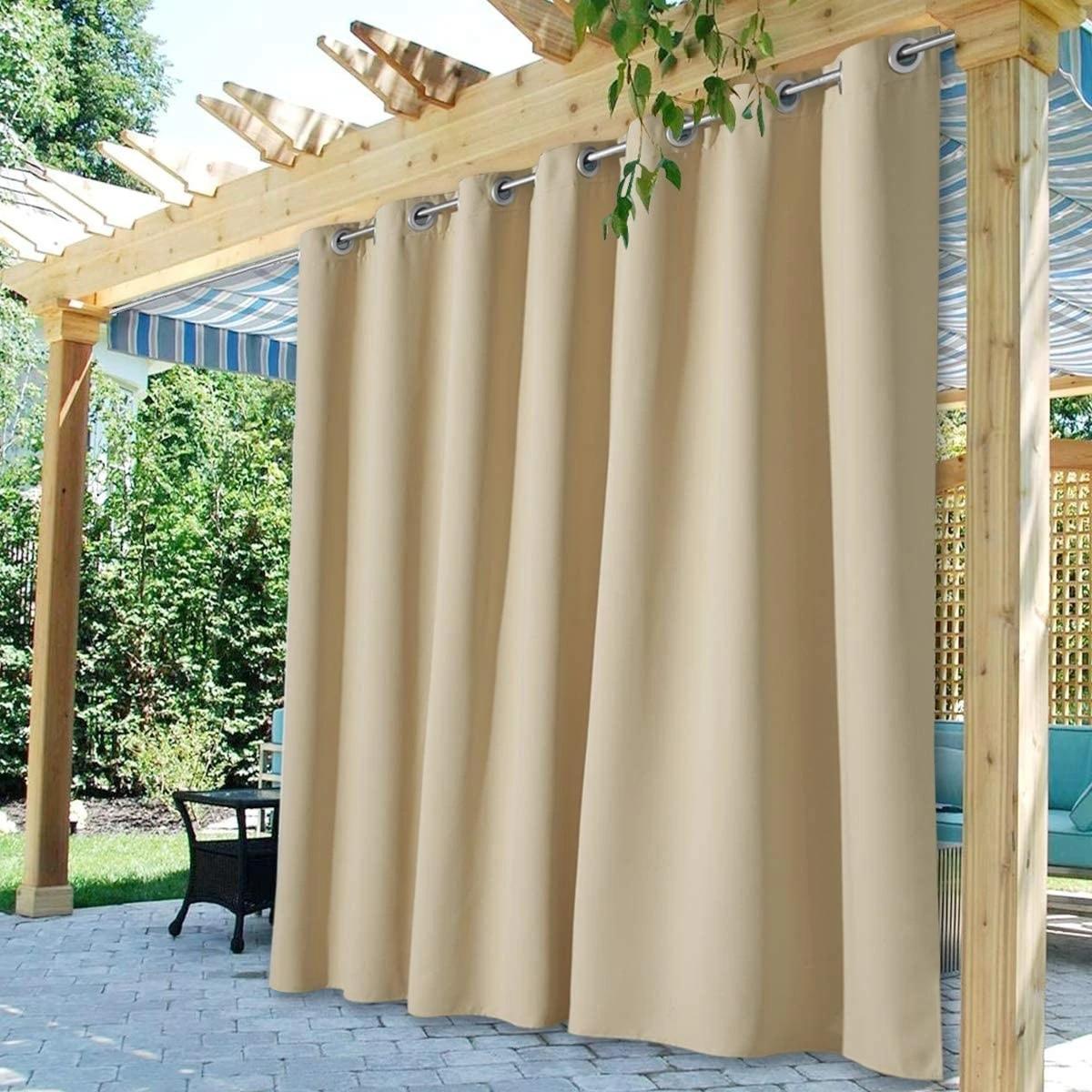 waterproof outdoor curtain panels blackout patio beige farmhouse curtains custom 1 panel