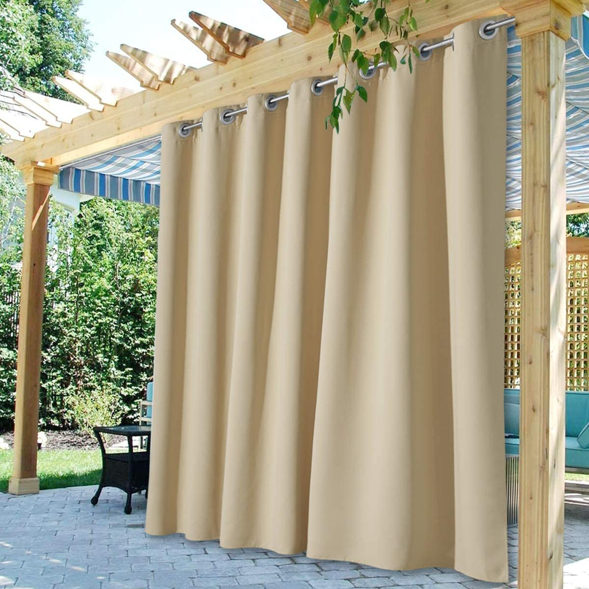Waterproof Outdoor Curtain Panels Extra Wide Blackout Patio Beige Farmhouse Curtains Custom 1 Panel