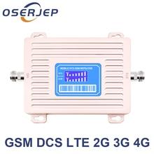 2018 ใหม่มาถึง Dual band GSM 900 4G LTE 1800 GSM 1800mhz โทรศัพท์มือถือสัญญาณ Booster 65dB Repetid ไม่รวมเสาอากาศ