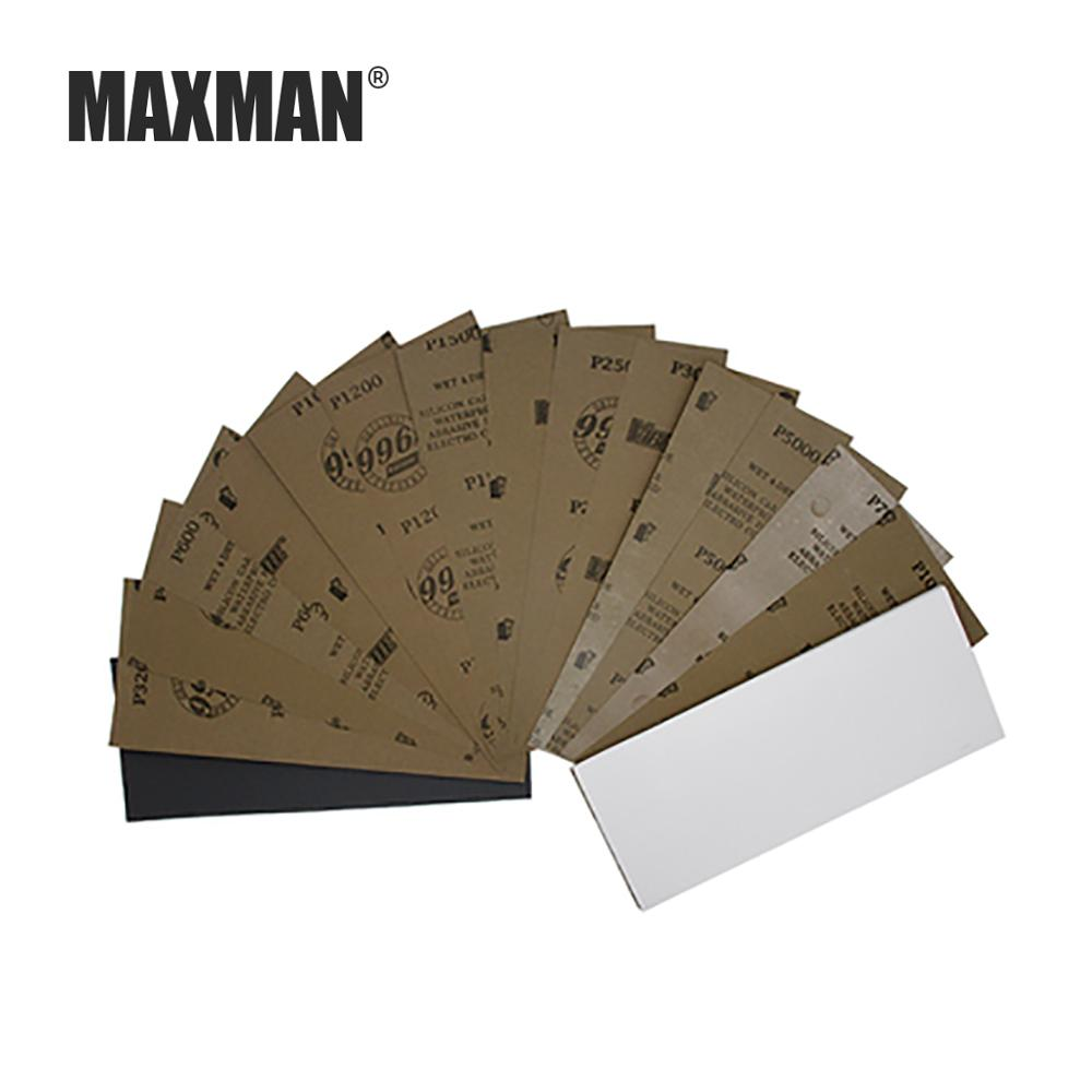 MAXMAN 3Pcs/5 Pcs 230x93MM Square Sandpaper Wet And Dry Non-crease Sanding Paper Car Metal Polishing Grit 320-10000