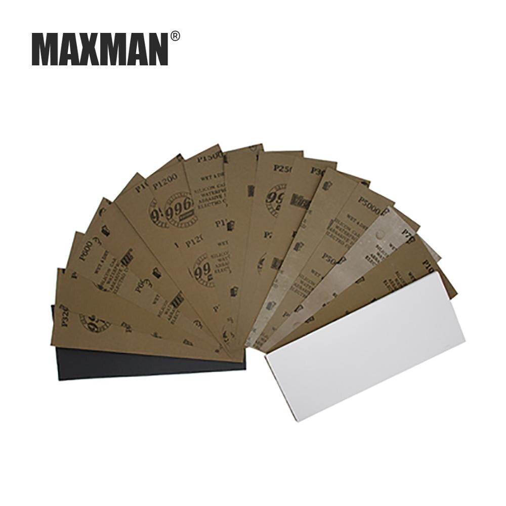 MAXMAN 3Pcs/5 Pcs 230x93MM Square Sandpaper Wet And Dry Non-crease Sanding Paper Car Metal Polishing Grit 320-10000