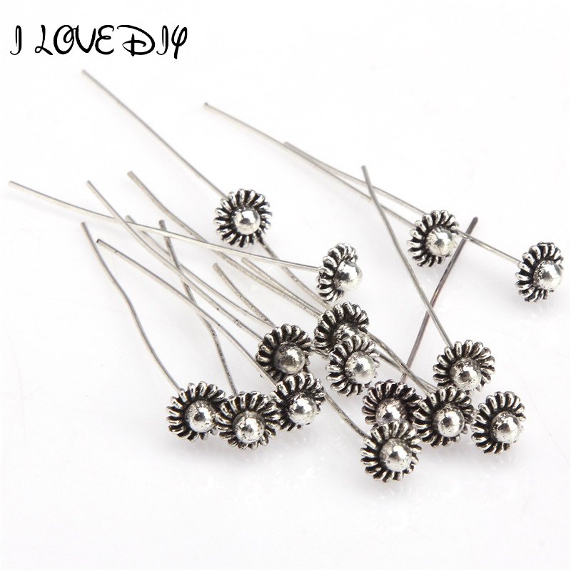 20pcs 50mm Antique Silver Flower Head Pins For Jewelry Making Diy Beads Ball Pins Needles Findings Women Jewelry Accessories