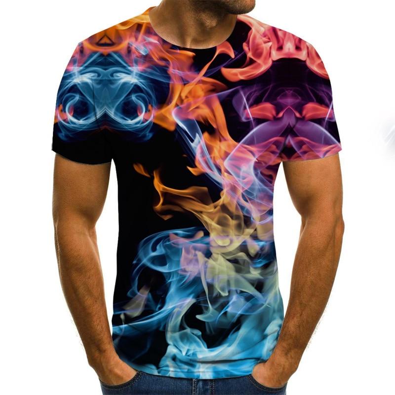 High Quality 2020 New Fashion T-shirt Three-dimensional 3D Printed T-shirt, Flame Top T Shirt