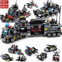 лучшая цена 695Pcs 8Pcs/lot City Police SWAT Technic Truck Car Building Blocks Set DIY Creator LegoINGs Bricks Playmobil Toys Christmas Gift