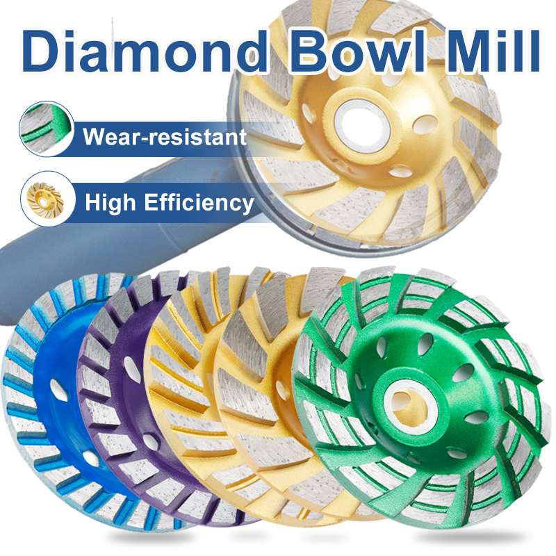 Durable 5 Type 4 Inch 100mm Diamond Grinding Wheel Disc Bowl Shape Grinding Cup Concrete Granite Stone Ceramics Tools