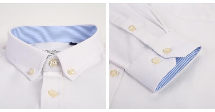 H1cb22f11e8044cba8aa488359782f6f3u Men's Plus Size Casual Solid Oxford Dress Shirt Single Patch Pocket Long Sleeve Regular-fit Button-down Thick Shirts