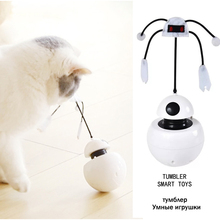 Electric Cat Toy Smart tumbler toy for cat laser toy pet Interactive toys automatic 360° whirling Teasing Cat Stick automatic 360 degree rotating laser light cat interactive toy