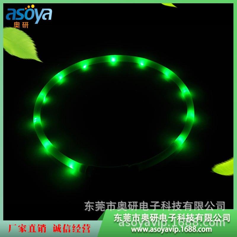 LED Silica Gel Neck Ring Pet Shining Collar Buckle USB Charging Dog Collar