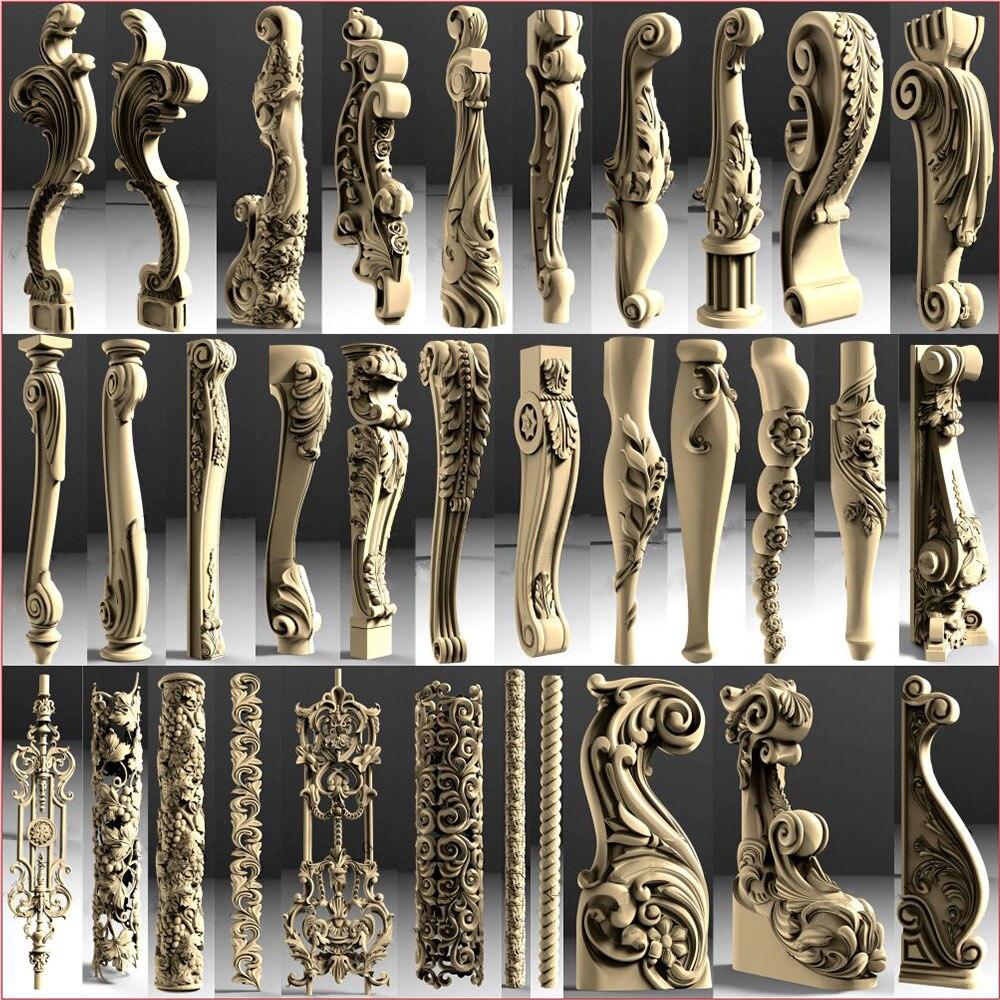 105 шт. Декоративные ножки и Columnss 3D STL модели для ЧПУ 4 оси гравер Carvingbed рельеф для ЧПУ маршрутизатор Aspire Artcam