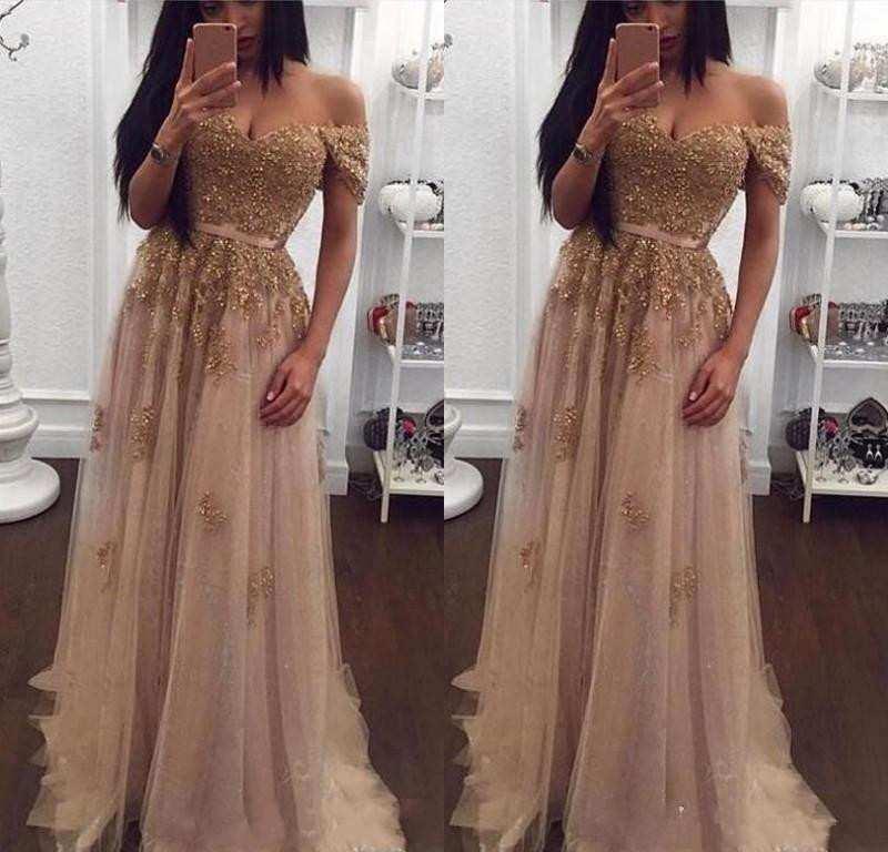 2020 Champagne Lace Beaded Arabic Evening Dresses Wear Off Shoulder Sweetheart A-line Tulle Prom Dresses Vintage Cheap Formal