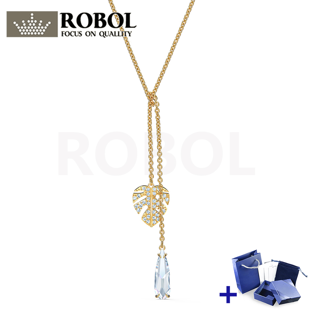 High Quality Original SWA Necklace With Original Marking NEW TROPICAL Leaf Necklace Box Set Woman Jewelry Gift Free Shipping