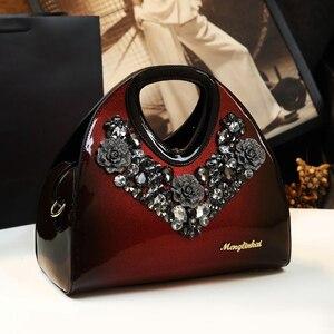 Image 1 - Luxus Mode Diamant Frauen Handtasche Weibliche Knödel Tasche Aus Echtem Leder Tote Tasche Damen Neue Partei Schulter Messenger Taschen