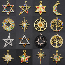 5pcs/lot Fabulous Rainbow Crystal Star Sun Moon Charm Fashion Pendant Wholesale Tree of Life Meteors diy Jewelry Making Charms
