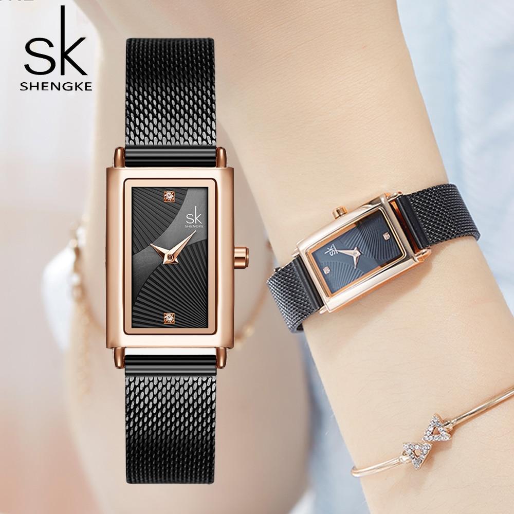 Unique Women Square Watch Rose Gold Lady Elegant Wristwatch SHENGKE Brand Minimalism Casual Dress Watch for