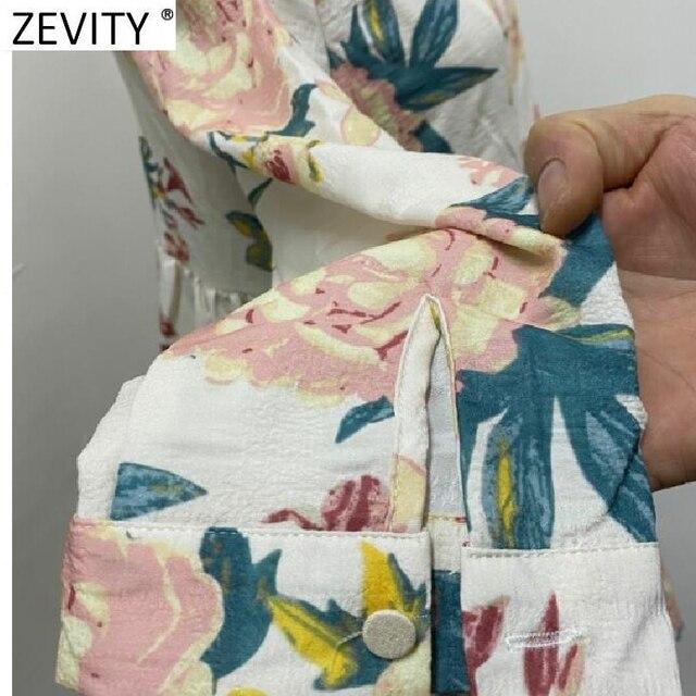 Elegant Flower Printing Pleated Ruffles Mini Dress Three Quarter Sleeve Kimono style 4