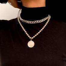 Beads Chain Coin-Pendants Cuban Link Necklace Women Fashion Jewelry Hiphop SHIXIN