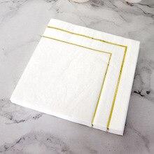 Table Paper Napkins Elegant Tissue Vintage Towel White Foil Gold Birthday Wedding Party Home Beautiful Decor