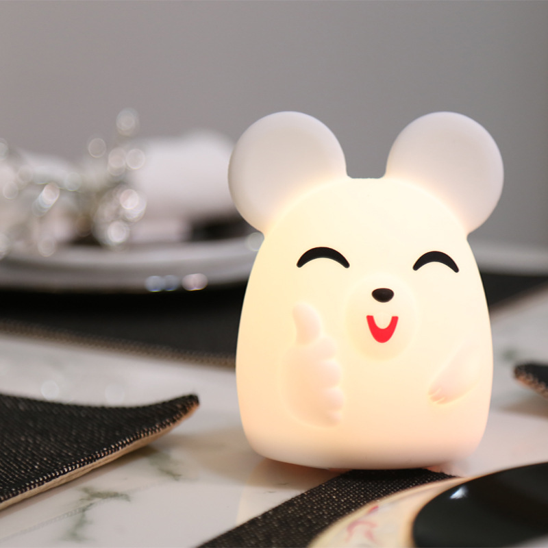 7 Colors Changed Cartoon Cute Mouse USB Charging Light Soft Table Lamp Home Decor For Kids Touch Control Night Light