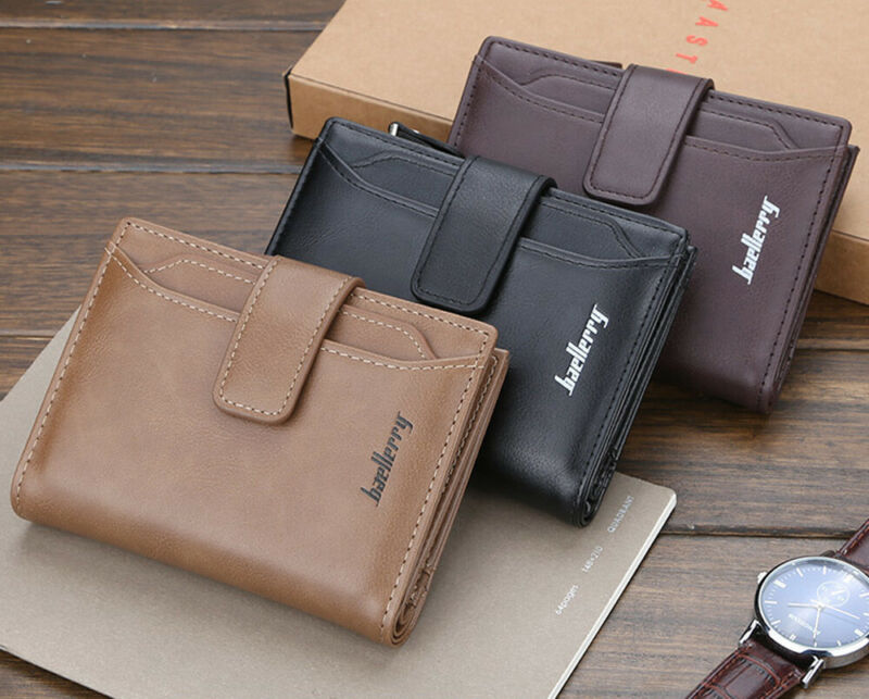 Men PU Leather Wallet Wallet Zipper And Hasp Design Small Wallet Male High Quality Short Card Holder  Purse Clutch Bifold Wallet