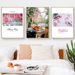 Северный Европейский стиль цветок декоративная живопись удобная маленькая сцена ткань вешается на стену в рамке тройной
