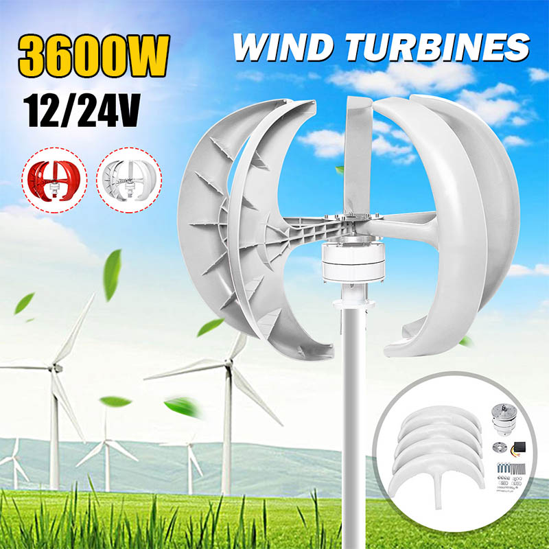 Wind Turbines Generator 3600W+Controller 5 Blades 12V 24V Lantern Vertical Axis Permanent Magnet Generator for Home Streetlight