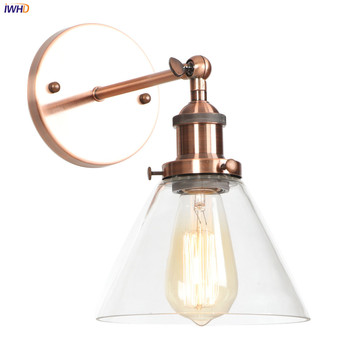 IWHD Antique Rustic Vintage Wall Lamp Bedroom Mirror Stair Glass Loft Decor Industrial Retro Wall Light Fixtures Wandlamp Edison iwhd adjustable swing long arm retro wall lights for home bedroom mirror stair light loft decor industrial vintage wall lamp led