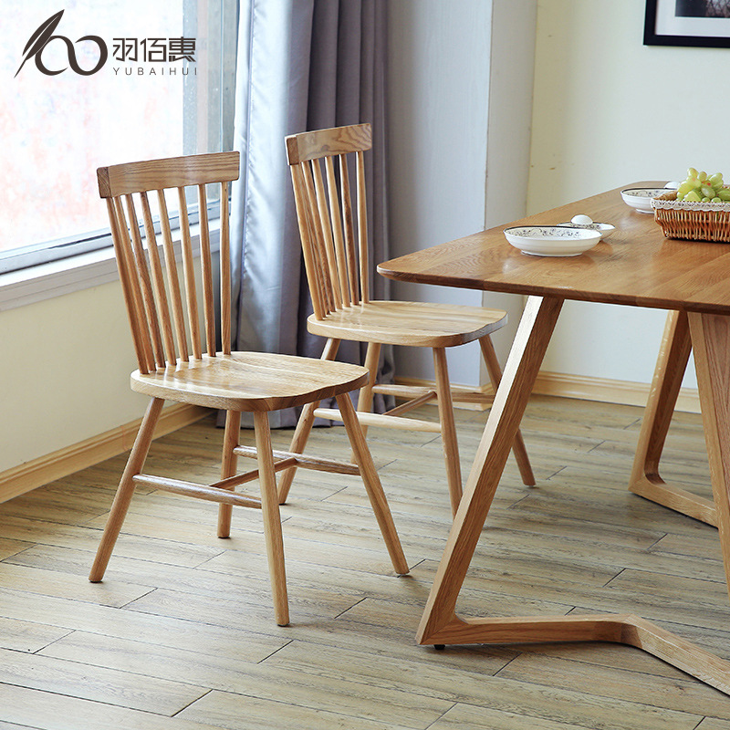 Solid Wood Dining-table Chair With Backrest Modern Minimalist Design Retro Building Blocks Windsor Chair Outfit Wood Skeleton Ch