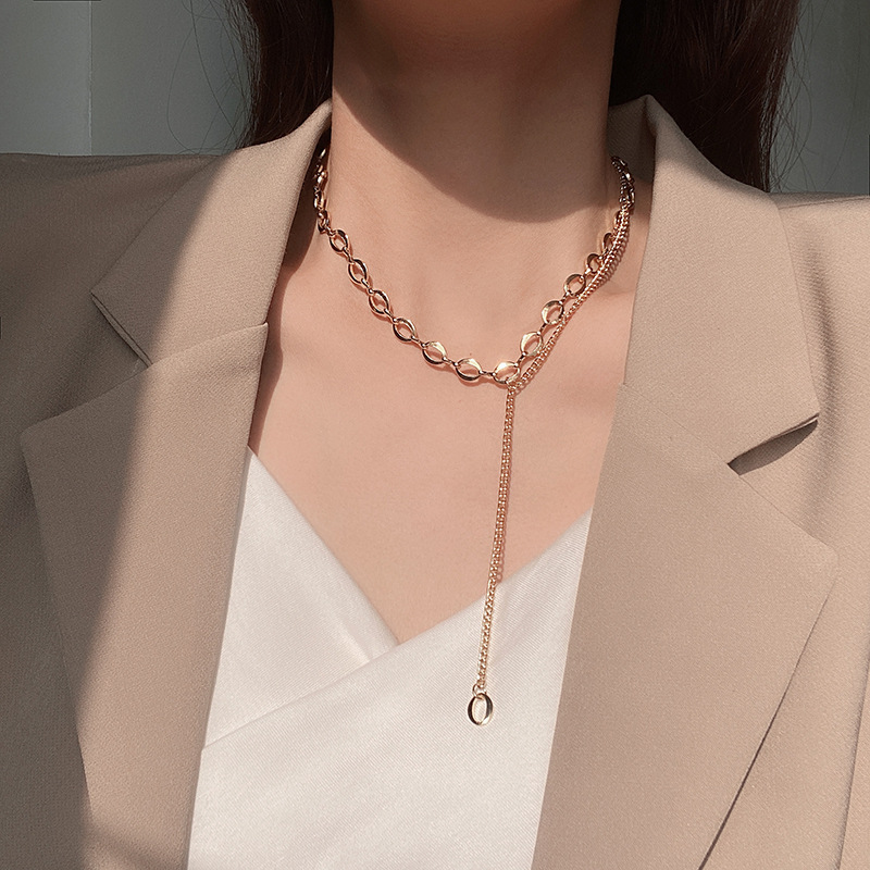 Double tassel necklace Korea ins trend niche simple clavicle chain temperament net red cold wind necklace