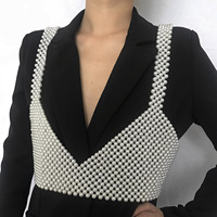 Sexy women's clothing fashion personality vest beaded geometric handmade woven pearl ladies vest body chain