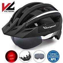VICTGOAL MTB Cycling Helmet For Man Women Breathable Bicycle Helmets LED Light Sun Visor Goggles Road Mountain Bike Helmet new cycling helmet mtb road bike helmet sun visor bicycle helmet aero helmet with goggles