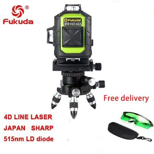 Фукуда бренд 12 линии 3D MW-93T-3GX лазерный уровень наливные 360 горизонтальный и вертикальный крест супер мощный зеленый лазер луч линии - Цвет: 4GX  515nm green  1