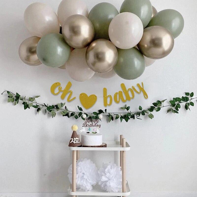 19pcs Olive Green Latex Balloons Garland Arch Kit Retro Bean Balloon Set Birthday Wedding Party Holiday Celebration Decorations