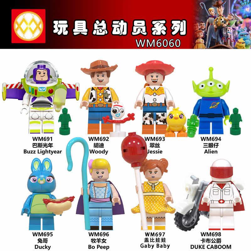 Conjunto Figuras Buzz Lightyear Woody Jessie Toy Story Alienígena Ducky Bo Peep Dos Desenhos Animados Blocos de Construção Filme Figuras de Ação Brinquedos WM6060