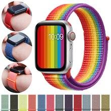 Strap For Apple Watch band Apple Watch 4 3 44mm 42mm iwatch band 2 1 42mm 38mm Sport Loop correa Nylon loop bracelet Watchband цена и фото