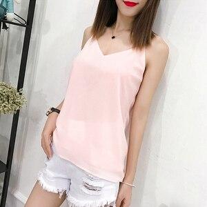 Image 3 - Korean Fashion Chiffon Women Camis Streetwear Sexy Tops Lace Sleeveless Black Female Tank Tops Plus Size XXXL/4XL Pink Shirt
