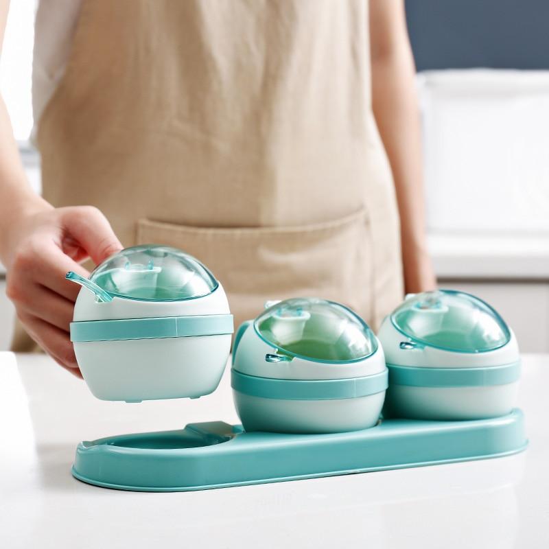 Plastic Transparent Lid Spice Jar Kitchen Sugar Herb Salt Shaker Storage Seasoning Box Set With Spoon Lid Cruet Condiment Bottle