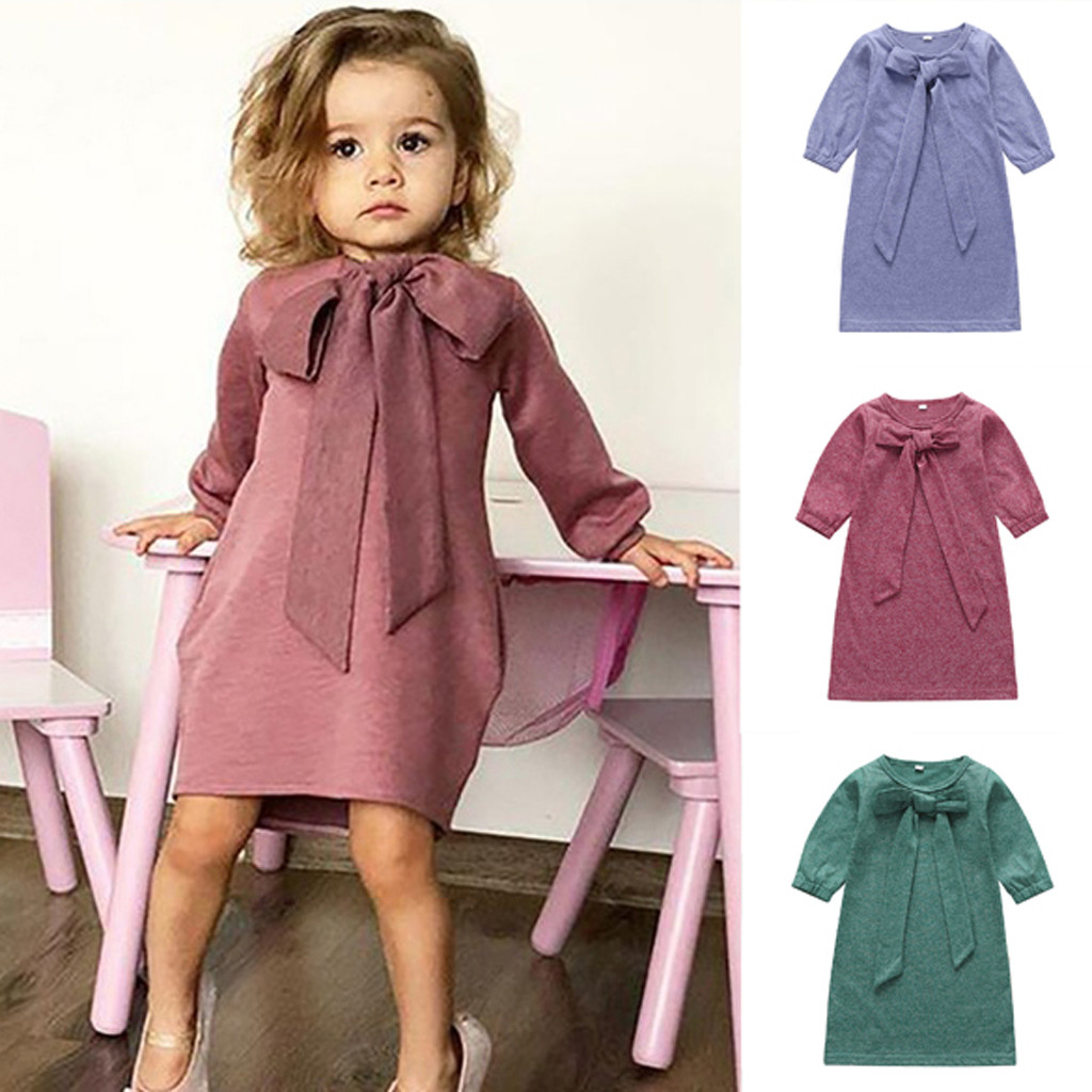 >LOOZYKIT Baby Girl <font><b>Dress</b></font> <font><b>Vestidos</b></font> <font><b>Kids</b></font> <font><b>Dresses</b></font> for Girls Infantil Christmas Party <font><b>Dress</b></font> Casual Solid Long Sleeve Sweet Bow Knot
