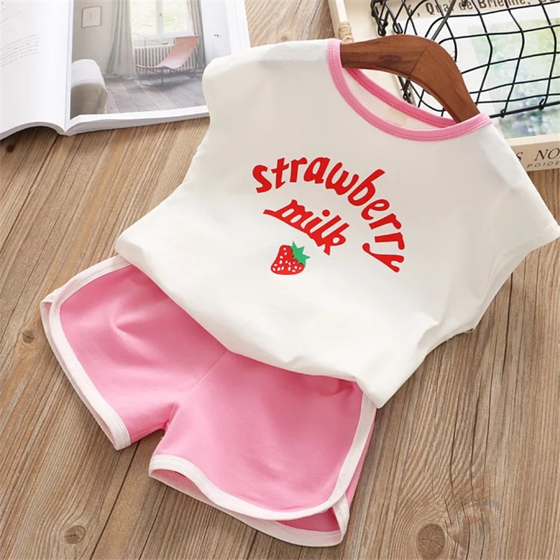 New Summer Toddler Girls Clothes Set 2020 T-shirt Tops + Short Pants Baby Girl Outfits Children Clothing Kids Suit 5 6 7 8 Years