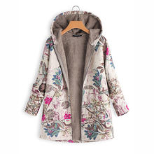 Print Parka Mujer Winter Coats Women Thicken Velvets Plus Size Liner Tops Pockets Loose Warm Ladies Down Cotton Jacket gift(China)