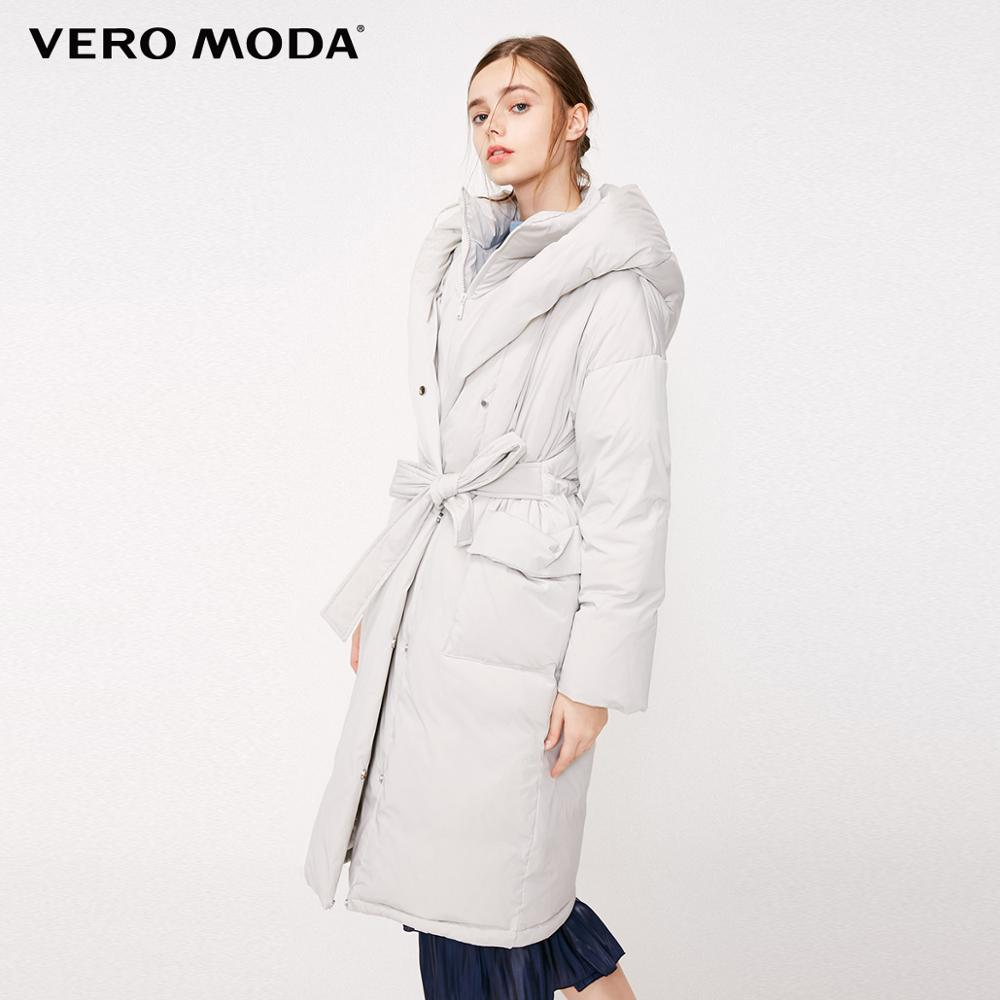 Vero Moda Women's Double Collar Hooded Loose Drawstring Long Down Jacket | 318412504