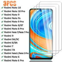 3 uds de vidrio Protector para Xiaomi Redmi Nota 10 9 8 7 Pro Nota 9S 8T 5 6 Pro Protector de pantalla para Redmi 9 9A 9C 8A 7A 8 7 de vidrio